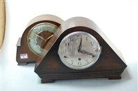 Lot 8-A 1930s oak cased mantel clock, having silvered...
