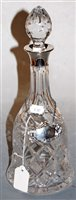 Lot 10-A modern cut glass decanter and stopper, having a ...