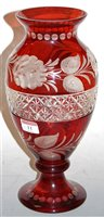Lot 11-A Bohemian style ruby overlaid glass vase, of...