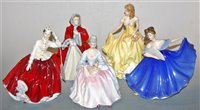 Lot 16-A collection of five Royal Doulton figurines, to...