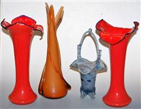 Lot 17-A pair of large orange glass Jack-in-the-Pulpit...