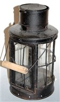 Lot 24-A WWI style black painted iron trench lantern,...
