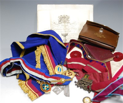 Lot 41-Two boxes of Masonic regalia, to include...