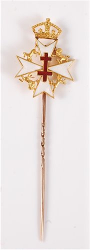 Lot 2547-An 18ct stick pin for the Order of St John of...