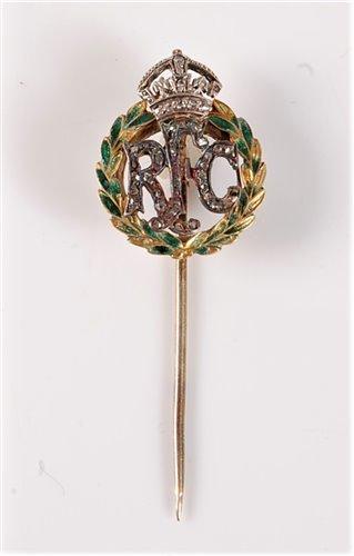 Lot 2548-A Royal Flying Corps diamond stick pin: the green ...