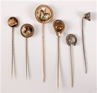 Lot 2554-Six stick pins of sporting interest: to include a ...