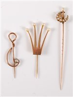 Lot 2560-A 9ct cultured pearl stick pin by Merle Bennett & ...