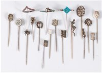 Lot 2563-A group of assorted silver and white metal stick...