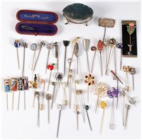 Lot 2564-A group of assorted stick pins: to include silver,...