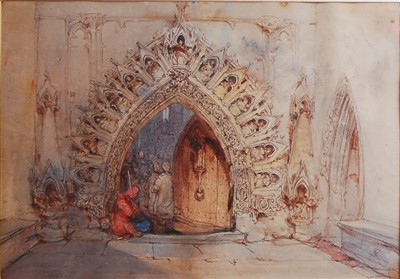 Lot 1454 - George Cattermole (1800-1868) - The Cathedral...