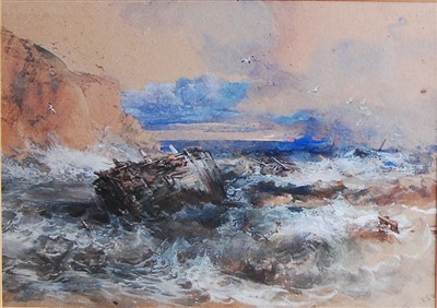 Lot 1456 - George Cattermole (1800-1868) - Shipwreck on...