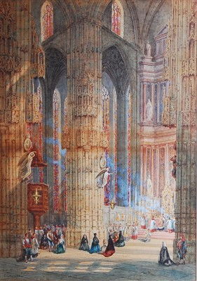 Lot 1453 - George Cattermole (1800-1868) - Cathedral...