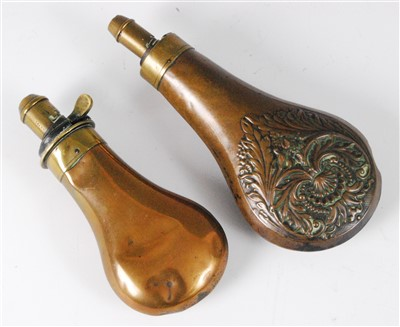 Lot 28 - A 19th century copper powder flask