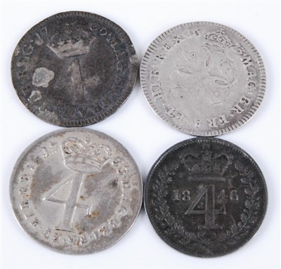 Lot 2030-England, Four Maundy Money 4d coins