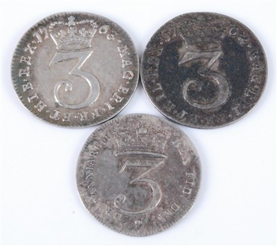 Lot 2029-Great Britain, Three Maundey Money 3d coins