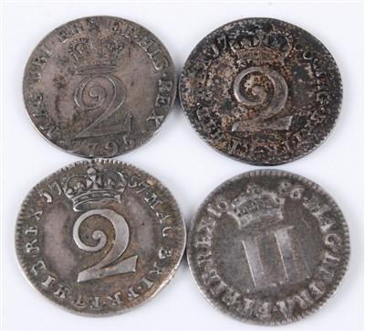 Lot 2028-England, Four Maundy Money 2d coins