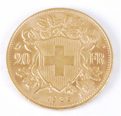 Lot 2047-Switzerland, 1922 gold 20 francs