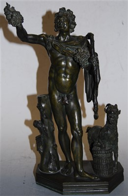 Lot 3-A reproduction patinated bronze figure of Bacchus,...