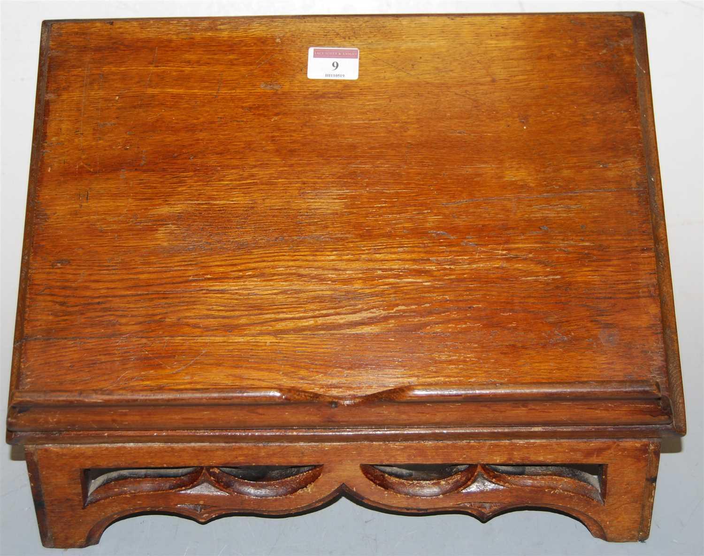 Lot 9-A Victorian oak lectern, having pierced Gothic...
