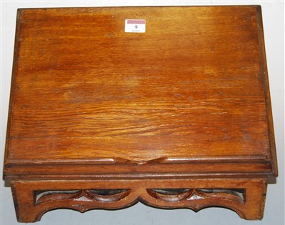 Lot 9-A Victorian oak lectern, having pierced Gothic...