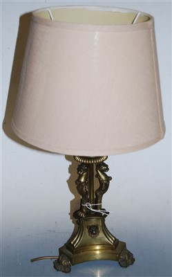 Lot 10-A brass table lamp and shade, having acanthus...