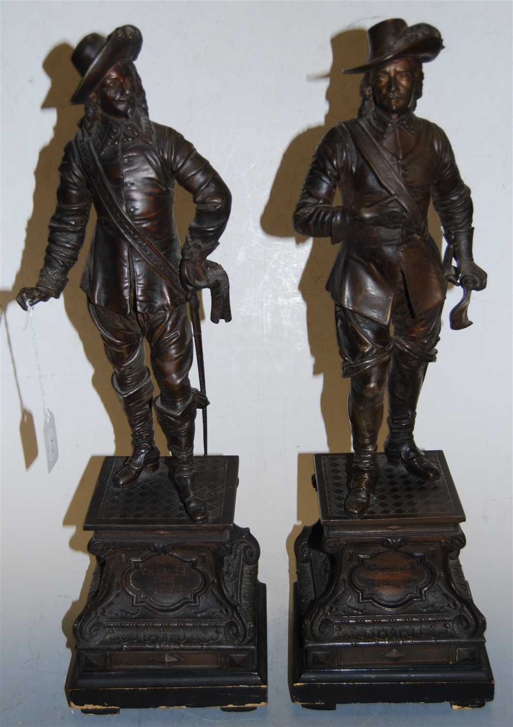 Lot 13-A pair of early 20th century spelter figures of...