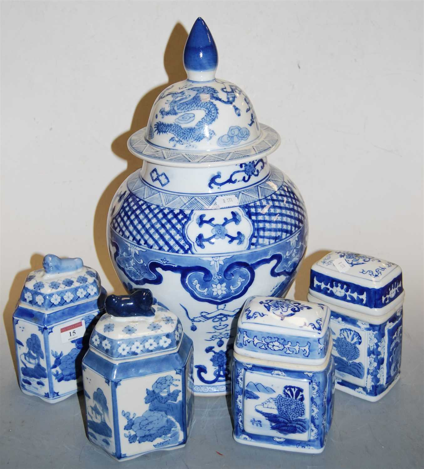 Lot 15-A large reproduction Chinese style blue and white ...