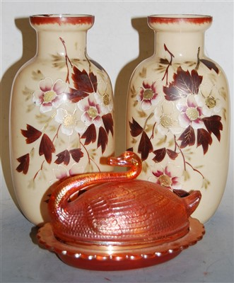 Lot 16-A pair of Victorian glass vases, overpainted with ...