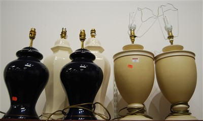 Lot 22-Three pairs of table lamps