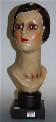Lot 23-A reproduction Art Deco style resin portrait bust ...
