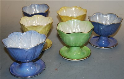 Lot 27-A set of six Maling lustre sundae dishes