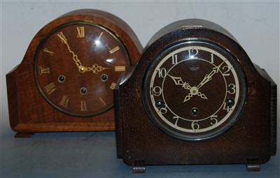Lot 31-A 1950s Smiths Enfield oak cased mantel clock;...