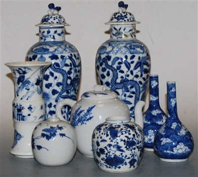 Lot 37-A Chinese export blue and white Gu shaped beaker...