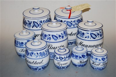 Lot 42-A set of nine Delft blue and white storage jars...