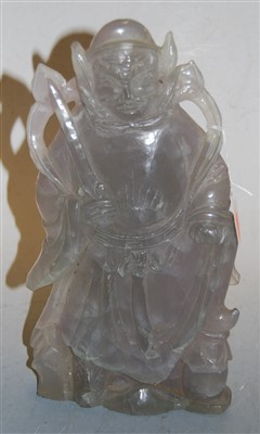Lot 46-A Chinese carved rose quartz figure, h.33cm