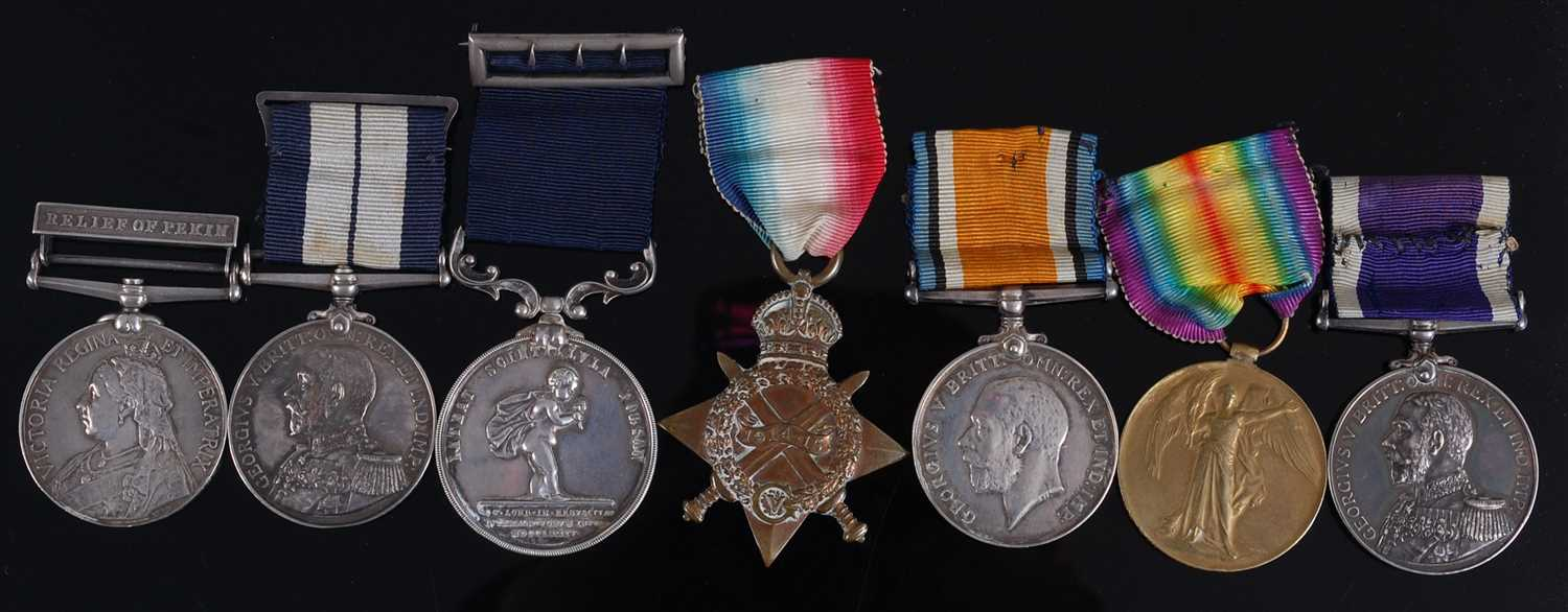 Lot 304-A Victoria/George V Naval medal group of seven to include