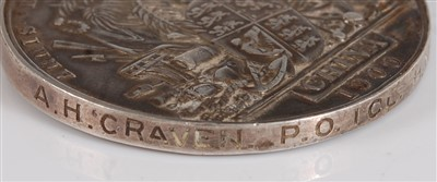 Lot 304 - A Victoria/George V Naval medal group of seven to include