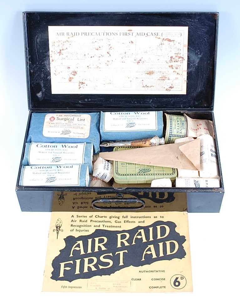 Lot 20 - A WW II A.R.P. Home first aid case, with original contents.