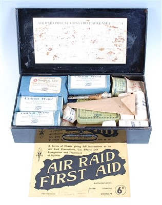 Lot 20-A WW II A.R.P. Home first aid case, with original contents.