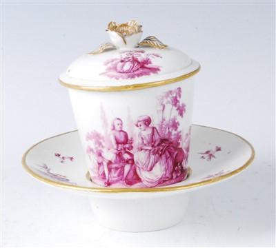 Lot 1051-An 18th century Sèvres porcelain chocolate cup...