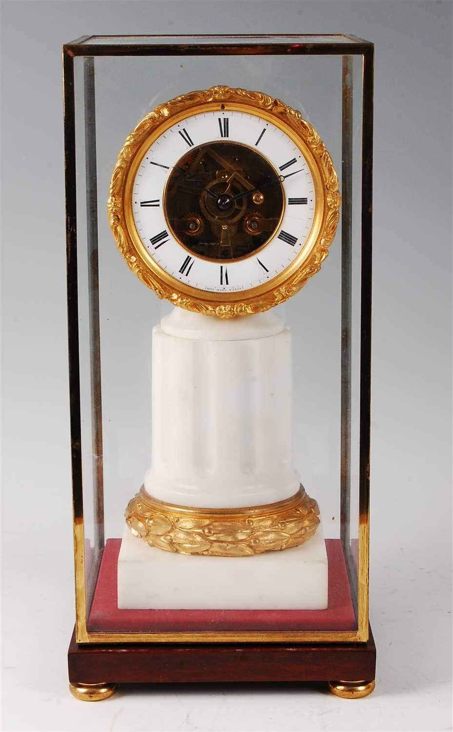 Lot 31-A late 19th century French white marble and gilt...