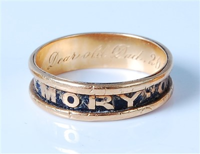 Lot 2568 - An early Victorian 18ct gold and black enamel...