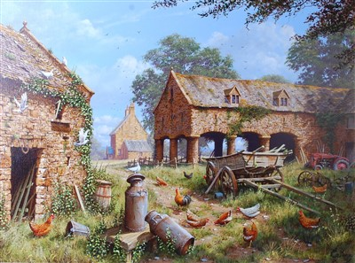Lot 1529-Edward Hersey (b.1948) - Chickens in a disused...