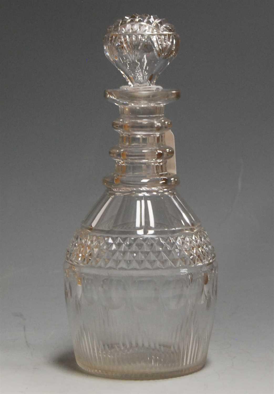 Lot 4-A Regency cut glass decanter, having a triple...