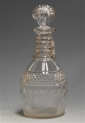 Lot 4-A Regency cut glass decanter, having a triple...