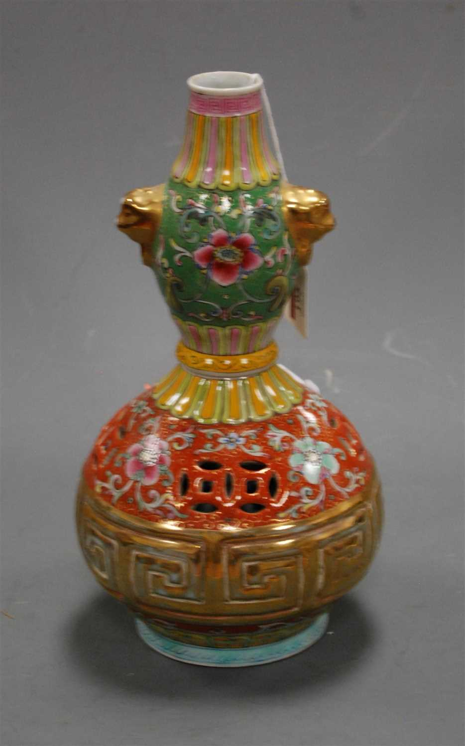 Lot 6-A Chinese stoneware double gourd vase, having a...