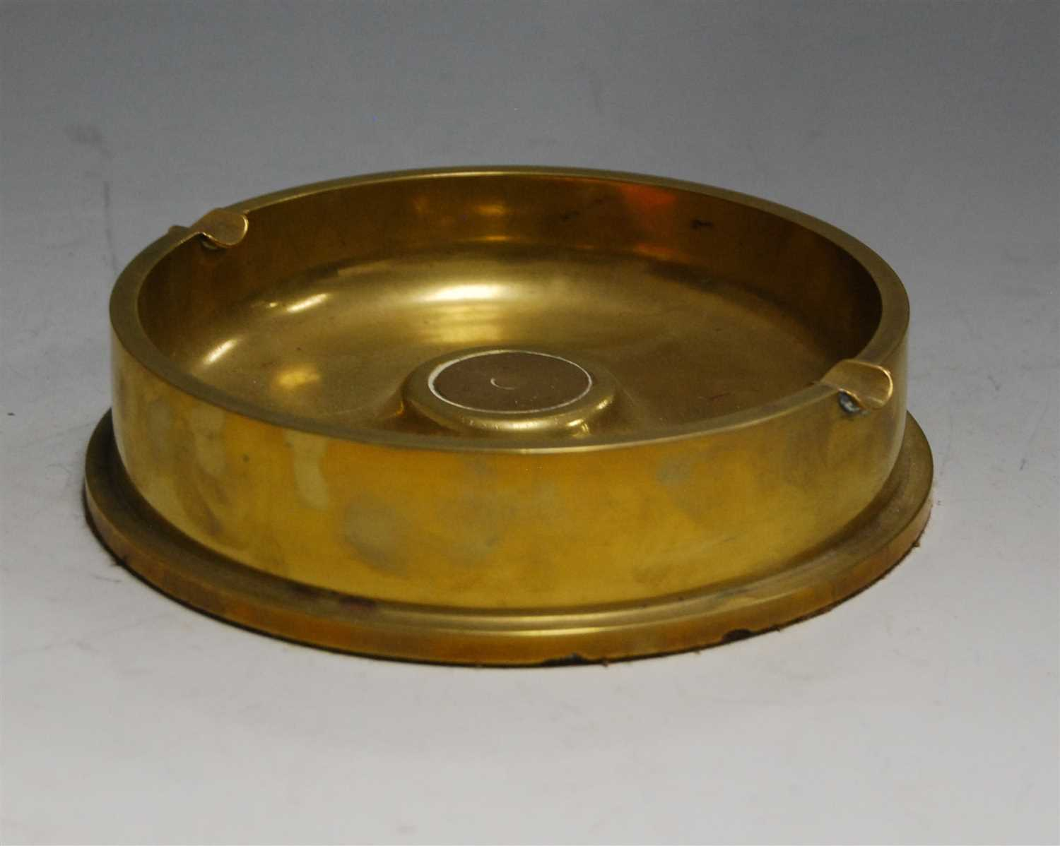 Lot 7-A large brass trench art style ashtray, dia. 17cm