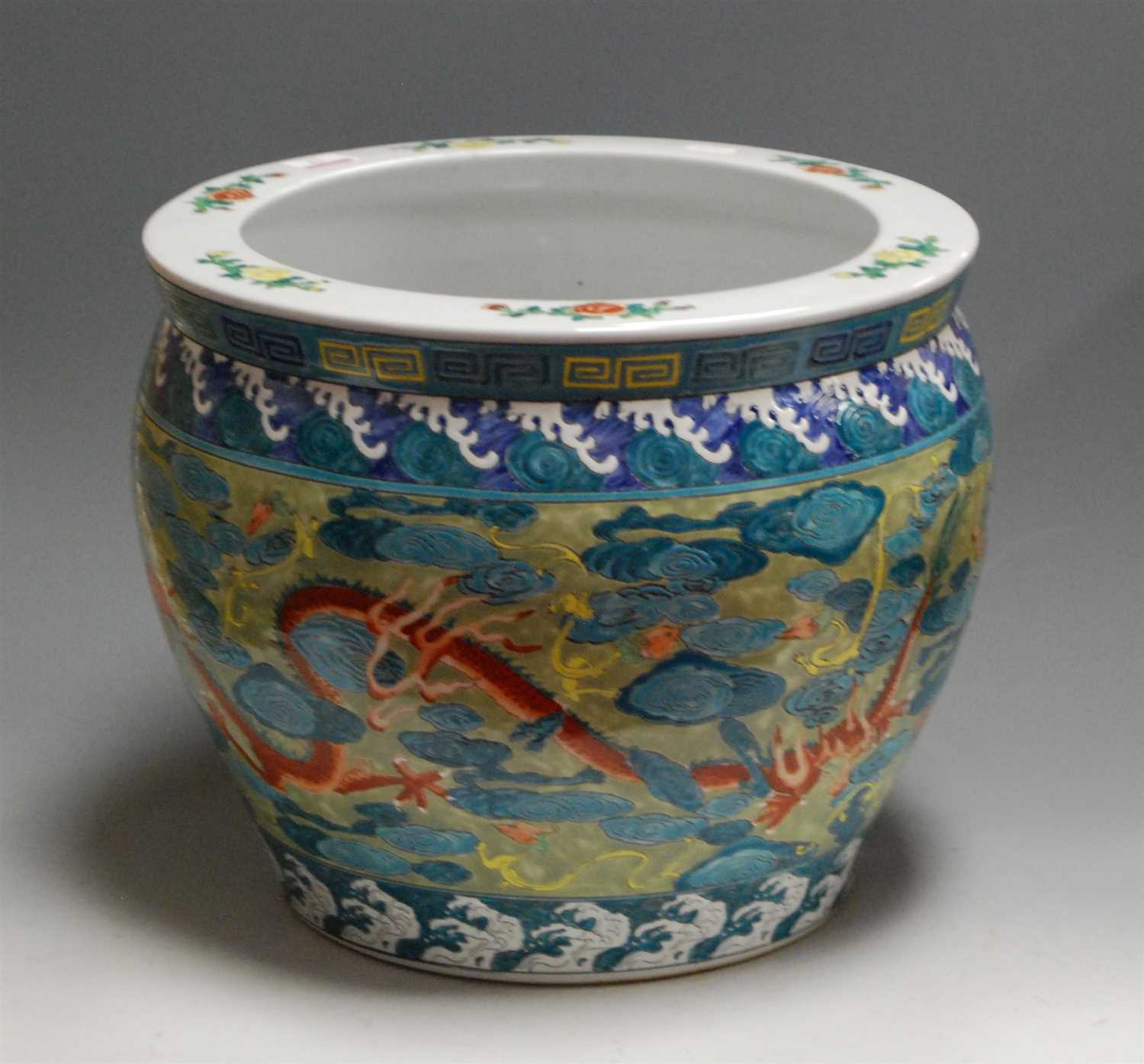 Lot 13-A reproduction Chinese style jardiniere,...