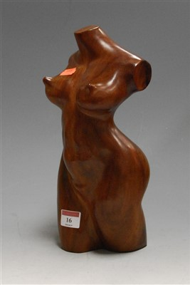 Lot 16-A modern carved hardwood sculpture of a female...