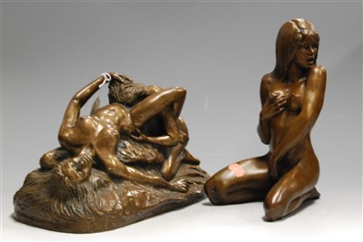 Lot 18-A modern bronzed resin figure of a female nude in ...